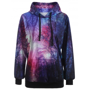 Pullover Aurora Tree Print Patterned Hoodies