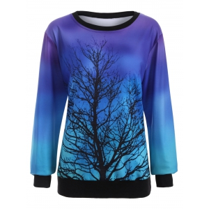 Ombre Tree Print Sweatshirt