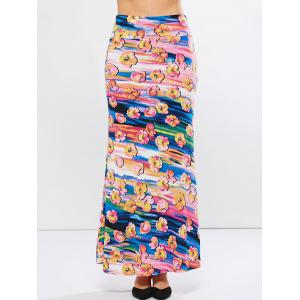 Mid Rise Floral Pattern High Waisted Skirt