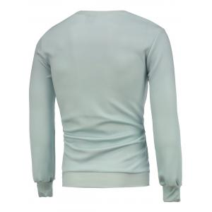 Long Sleeve Crew Neck Funny Sweatshrit - GREYISH GREEN M
