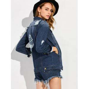 Single Breasted Ripped Denim Jacket -