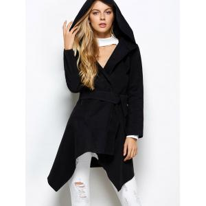 Hooded Asymmetric Wool Blend Wrap Coat