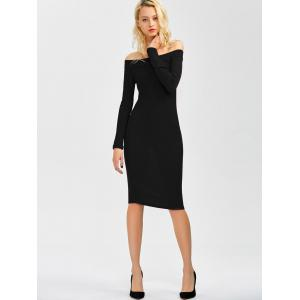 Off Shoulder Long Sleeve Party Bodycon Formal Dress - Black - S