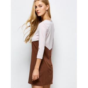 Color Blocked Shift Dress - COFFEE WITH KHAKI XL