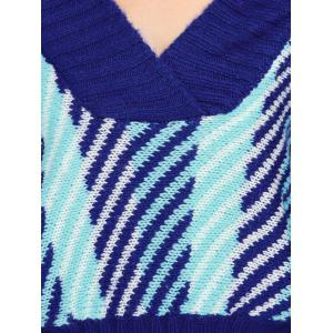 Batwing Off Shoulder Striped Short Sweater - BLUE ONE SIZE
