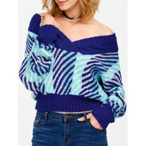 Batwing Off Shoulder Striped Short Sweater - Blue - One Size