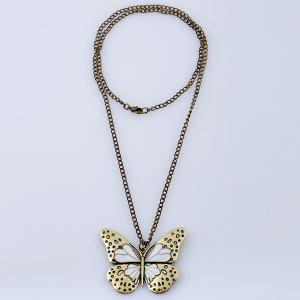 Butterfly Pendant Sweater Chain - WHITE