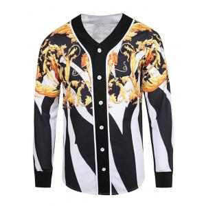 3D Color Block Floral and Stripe V Neck Single Breasted Jacket