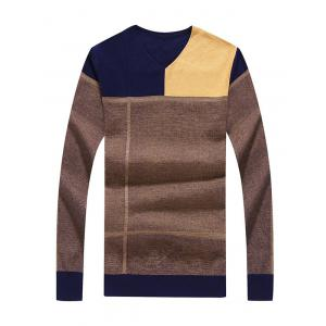 Slim Fit V Neck Color Block Sweater