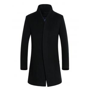 Slimming Stand Collar Single Breasted Wool Blend Coat - Black - M