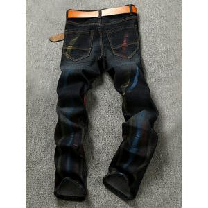 Colorful Striped Pocket Zipper Fly Jeans - BLACK 38