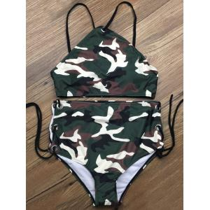 Lace Up Camouflage Two Piece High Waisted Bikini - Camouflage Color - Xl