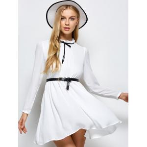Ruff Collar Pleated Belted Chiffon Dress -