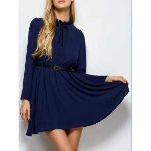 Ruff Collar Pleated Belted Chiffon Dress - Deep Blue - 2xl