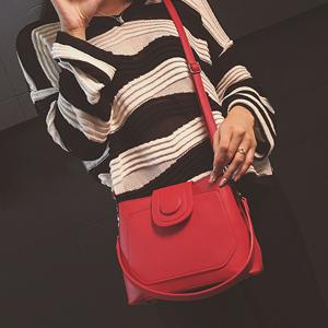 PU Leather Single Button Shoulder Bag - RED