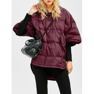 Hooded High-Low Oversized Down Coat - Wine Red - S