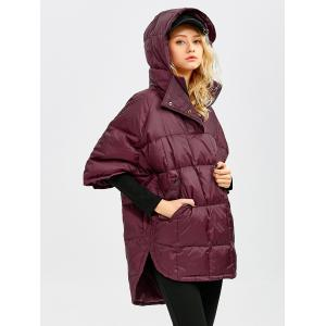 Hooded High-Low Oversized Down Coat - WINE RED S