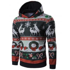 Hooded Christmas Reindeer and Snowflake Print Hoodie