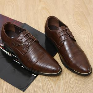 Metal PU Leather Lace Up Formal Shoes -