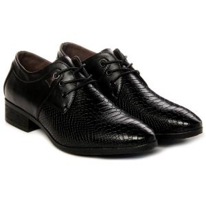 Lace Up Embossing Metal Formal Shoes - BLACK 43
