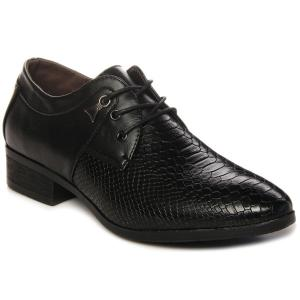 Lace Up Embossing Metal Formal Shoes