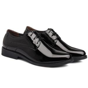 Patent Leather Engraving Lace Up Formal Shoes - BLACK 43