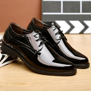 Patent Leather Engraving Lace Up Formal Shoes - BLACK 44