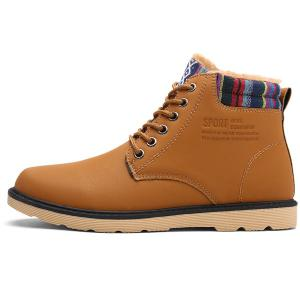 Tie Up Striped Pattern PU Leather Boots - LIGHT BROWN 43