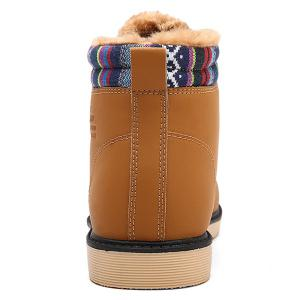 Tie Up Striped Pattern PU Leather Boots -