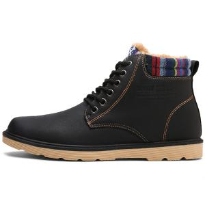 Tie Up Striped Pattern PU Leather Boots - BLACK 44