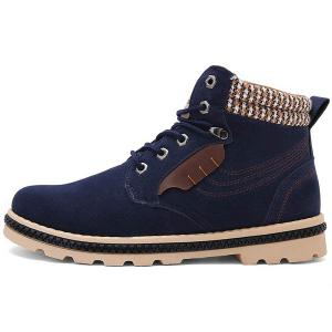 Colour Block Tie Up Stitching Boots -