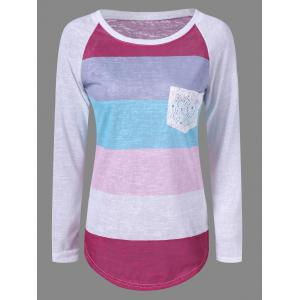 Pocket Color Block Raglan Sleeve T-Shirt