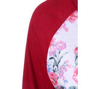 Floral Printed Raglan Sleeve Baseball T-Shirt - RED XL