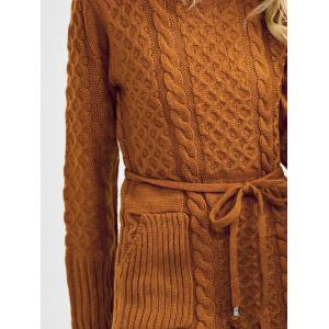 Turtleneck Cable Knit Sweater Dress With Pockets -