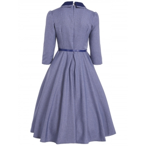 Double Breasted A Line Vintage Dress - STONE BLUE XL