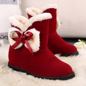 Fuzzy Bowknot Short Boots - RED 39