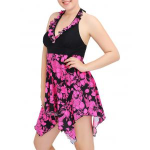 Halter Asymmetric Floral Skirted Tankini Swimwear - ROSE RED 6XL