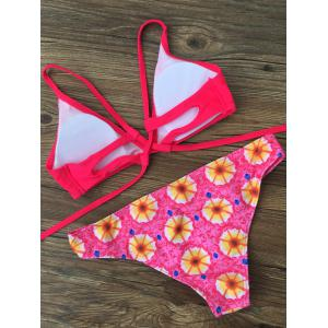 Cami Morning Glory Cut Out Bikini Set - RED XL