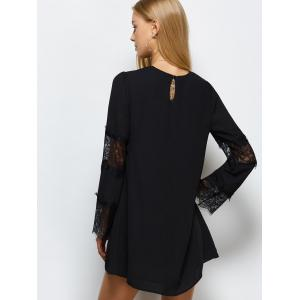 Round Neck Lace Panel Shift Dress - BLACK 2XL