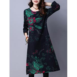 Floral Print Fleece Lined Midi Dress - DEEP BLUE XL
