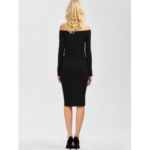 Off Shoulder Long Sleeve Party Bodycon Formal Dress - BLACK XL