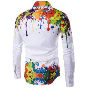 Colorful Splatter Paint Pattern Turndown Collar Long Sleeve Shirt - WHITE 2XL