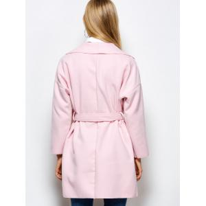 Woolen Long Wrap Coat With Pockets - PINK XL