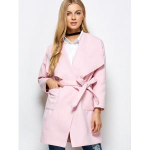 Woolen Long Wrap Coat With Pockets -