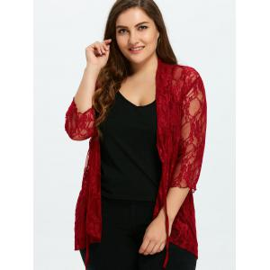 Plus Size Drawstring Asymmetric Lace Jacket -