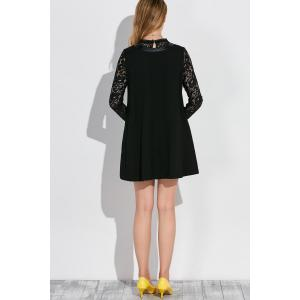 Long Sleeve Lace Patched Panel Trapeze Dress -