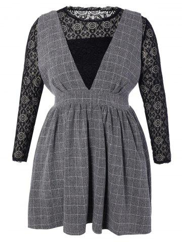 Shops Plus Size Lace Top and Checked Pinafore Dress