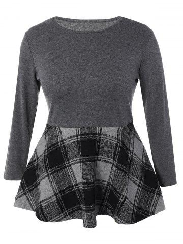 Trendy Plus Size Long Sleeve Plaid Insert Mini Dress GRAY 5XL