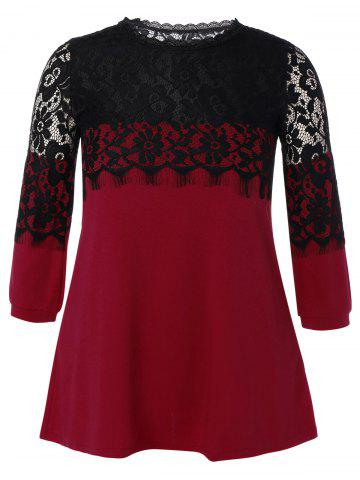 Affordable Plus Size Lace Hollow Out  Mini Dress WINE RED 5XL