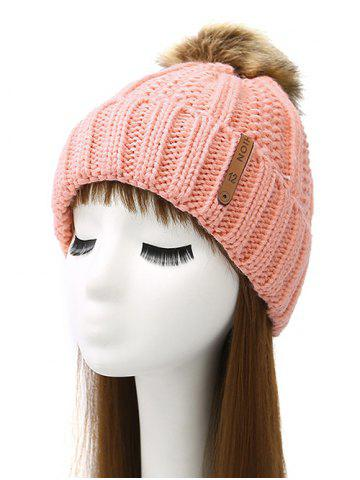 Discount Pom Ball Striped Knitted Beanie PINK